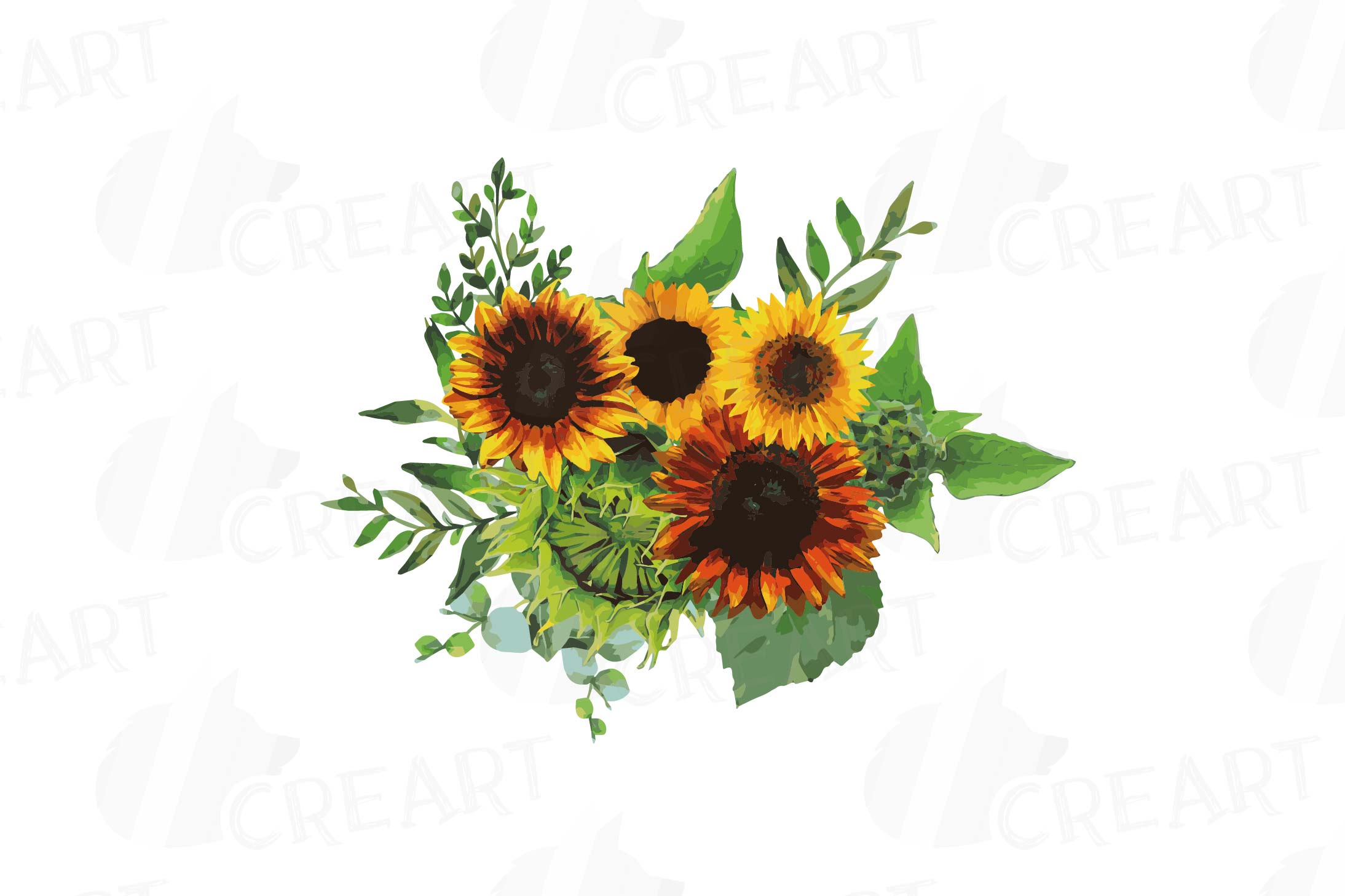 Watercolor sunflower bouquets and design elements example image 11