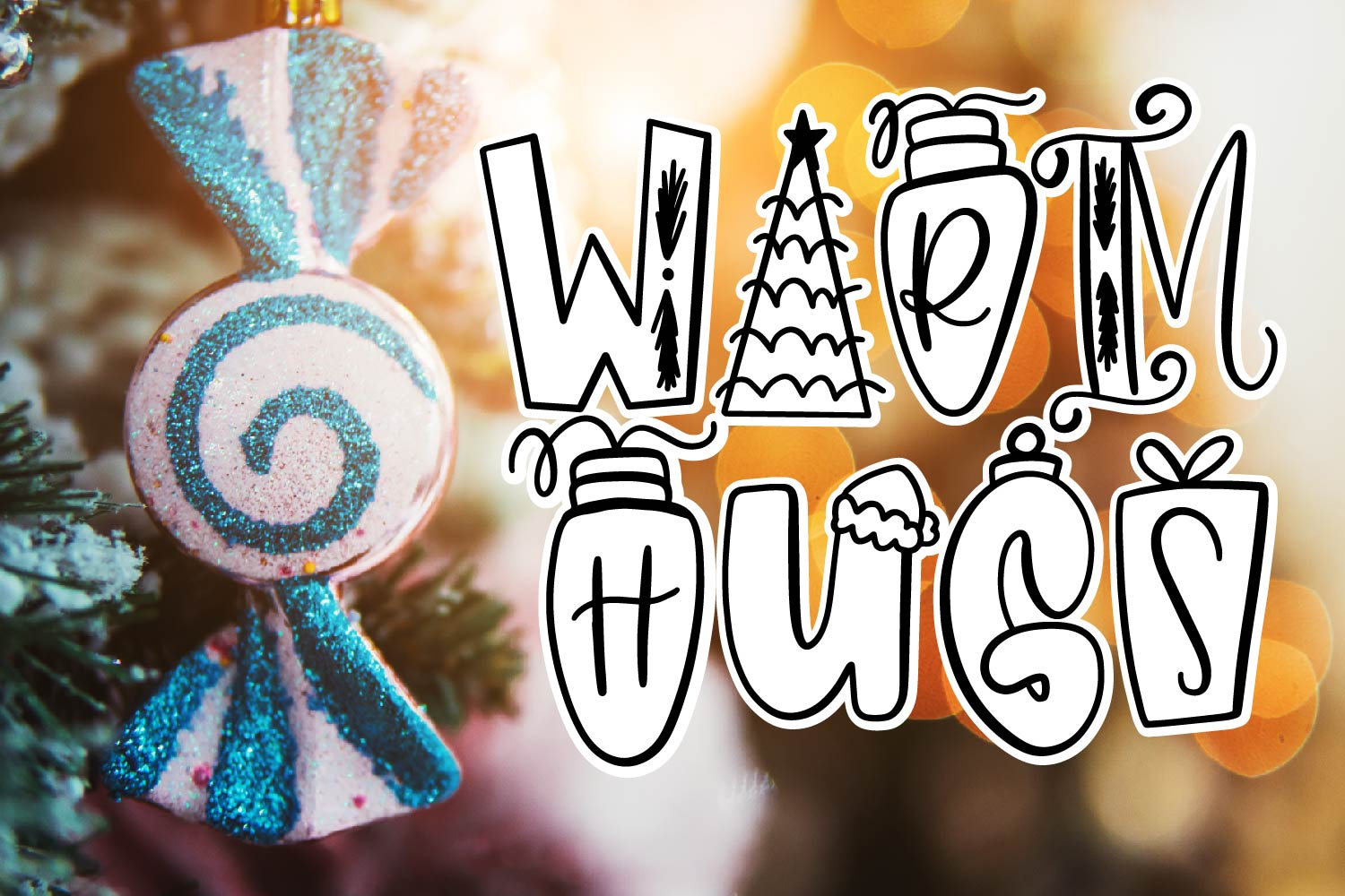 Holiday Things - A Christmas Word Art Font! example image 5