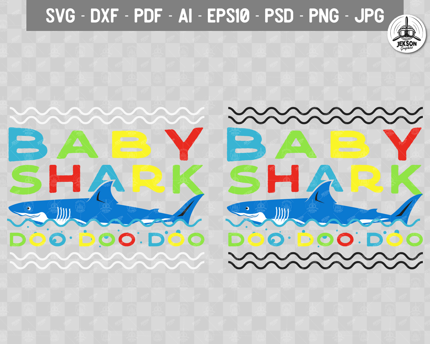 Retro Daddy Shark Print / Fathers Day T-Shirt, Family SVG example image 4
