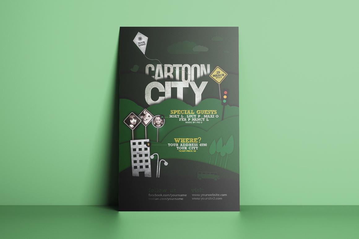 Cartoon City Flyer Template example image 3