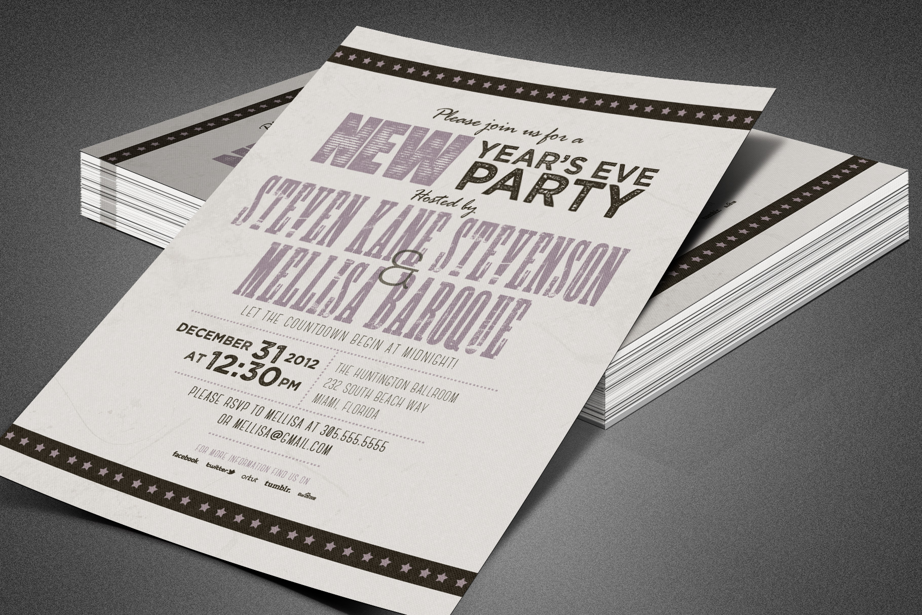 Retro New Year Party Invite Card Template example image 3