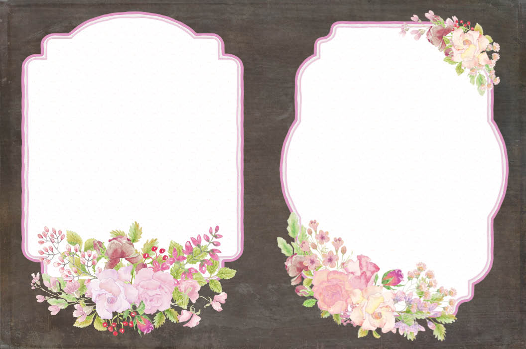 Frames with pink watercolor roses example image 2