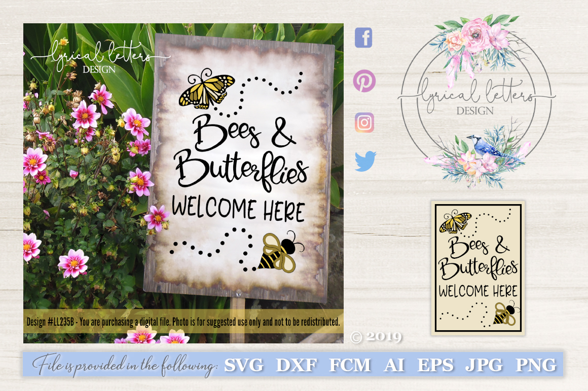Bees and Butterflies Welcome Here Spring SVG DXF FCM LL235B example image 1
