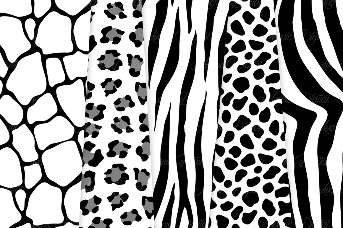 Black Animal Print Vector Patterns -  Black and White Safari Seamless Digital Papers example image 3