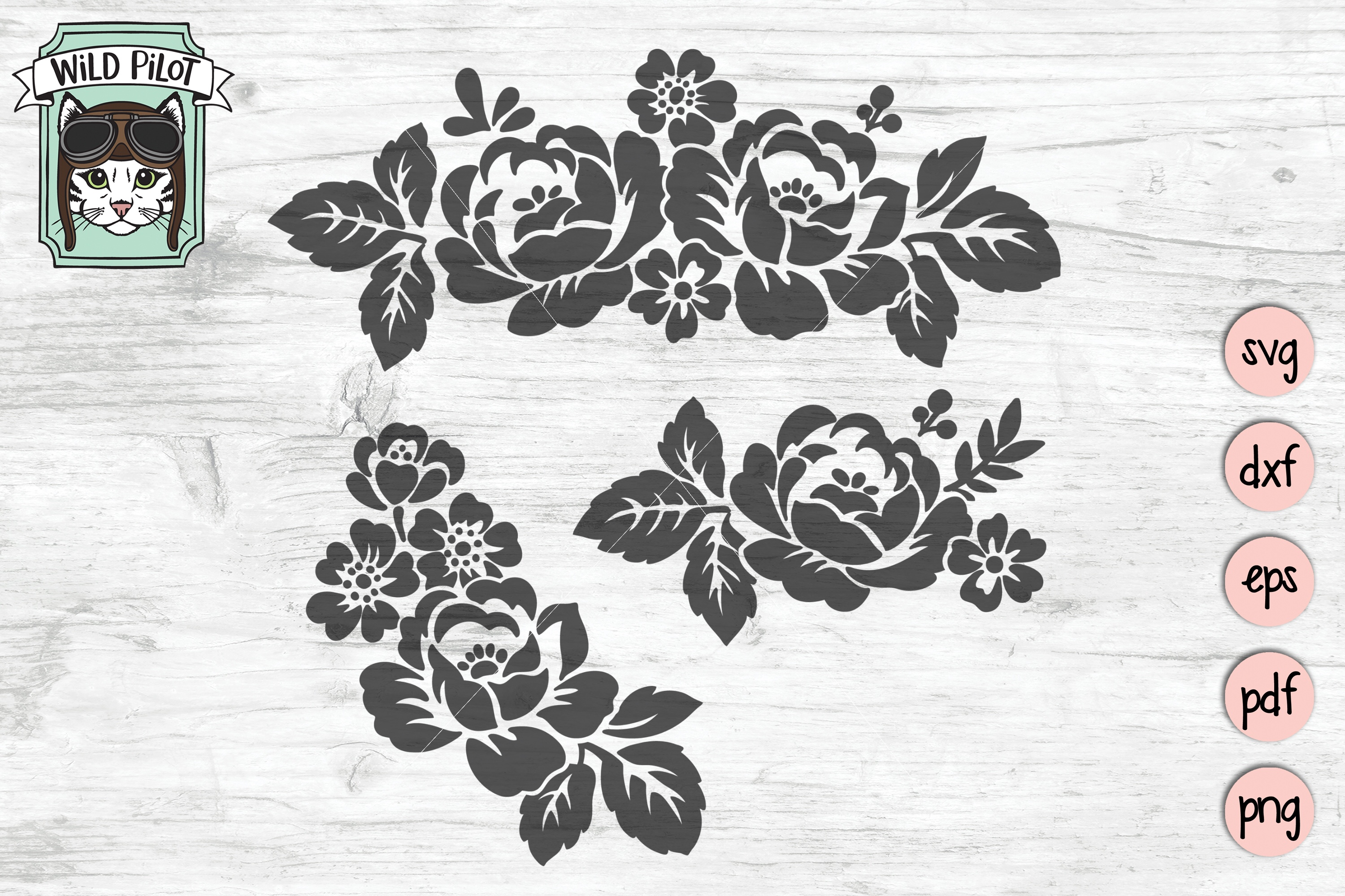 Flowers SVG file, Floral cut file, Flower Border, Stencil example image 3