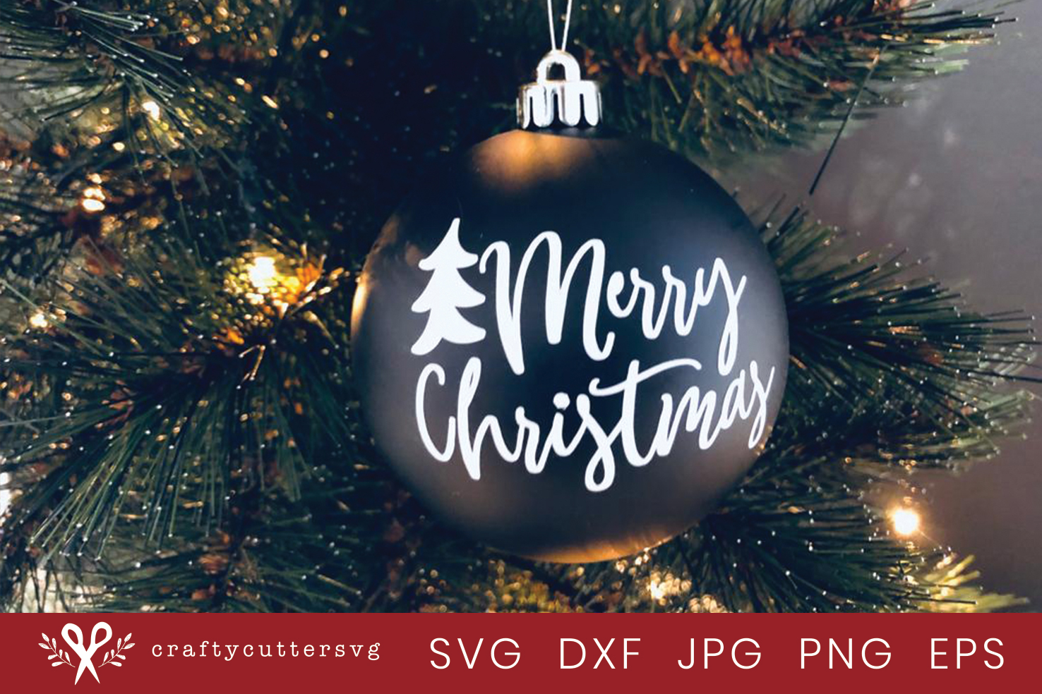 Christmas Ornaments Merry Christmas Tree Cut File example image 2