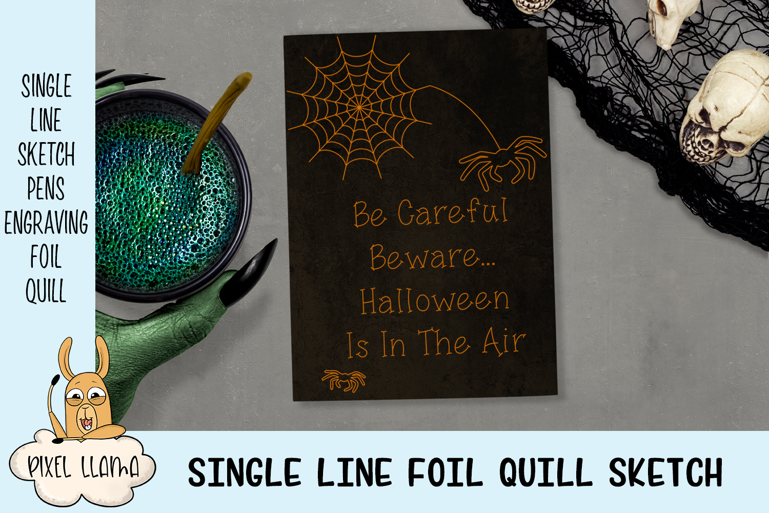 Be Careful Beware Halloween Single Line Sketch Foil Quill example image 1