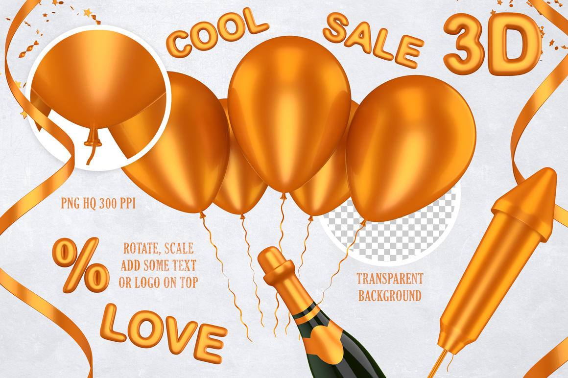 New Year 3D PNG Items Pack example image 6