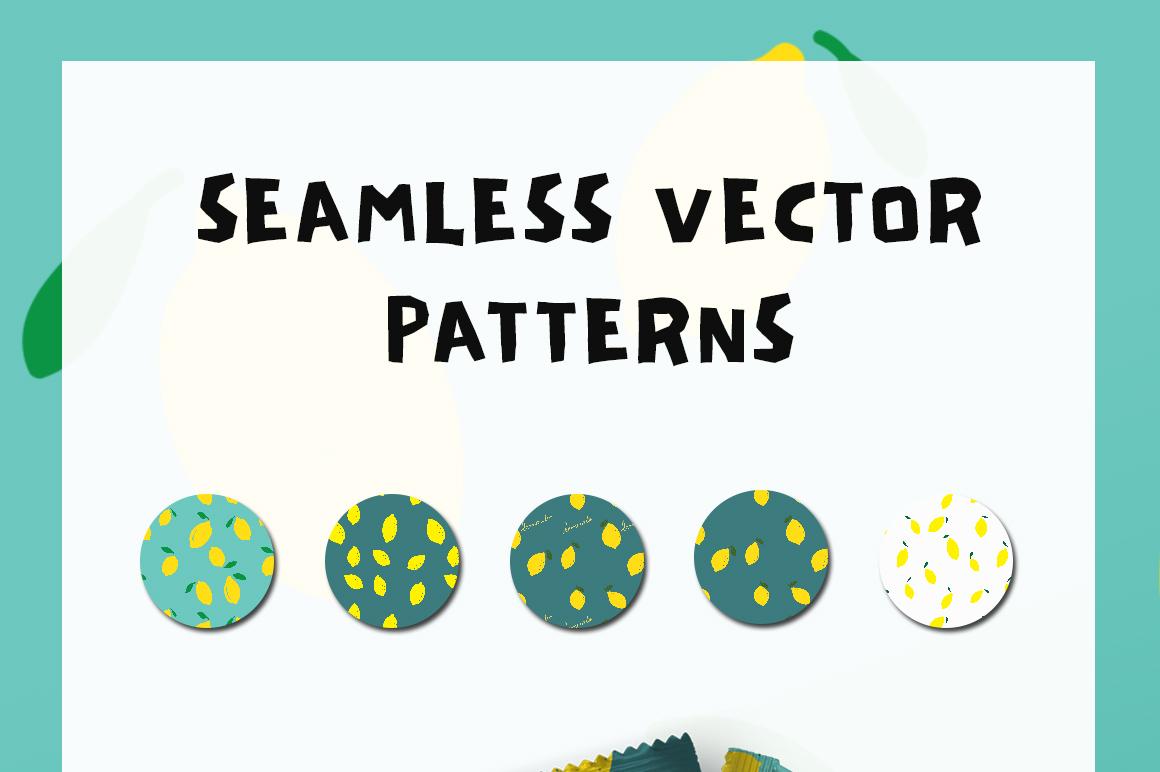 Lemon Seamless Vector Patterns Pack example image 4