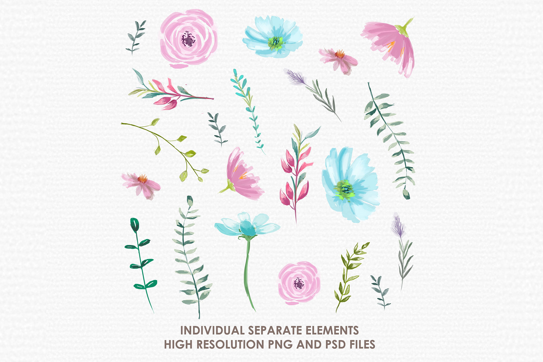 Lilian - Digital Watercolor Floral Flower Style Clipart example image 2