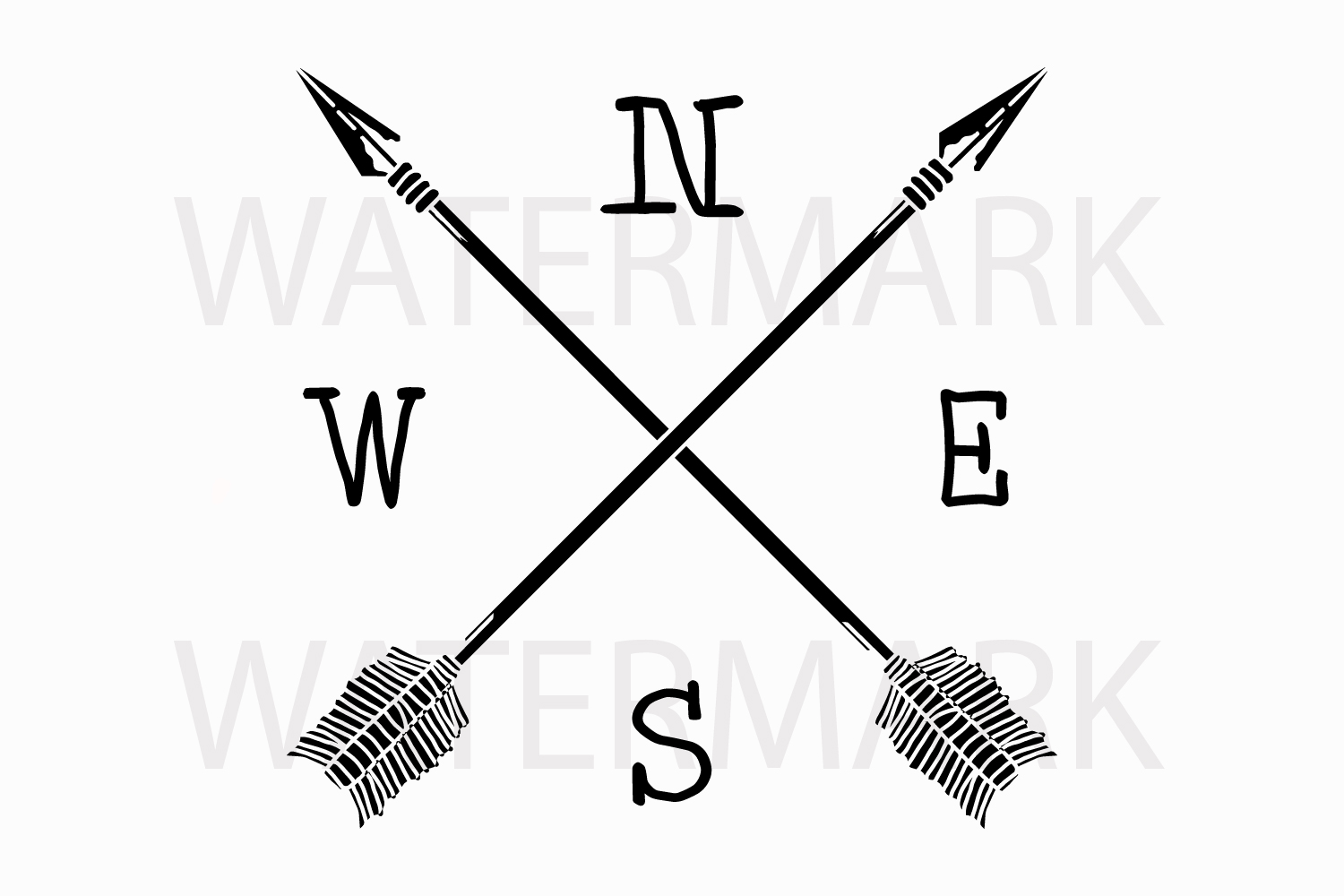 Two Arrow with N W E S - SVG/JPG/PNG Hand Drawing example image 1