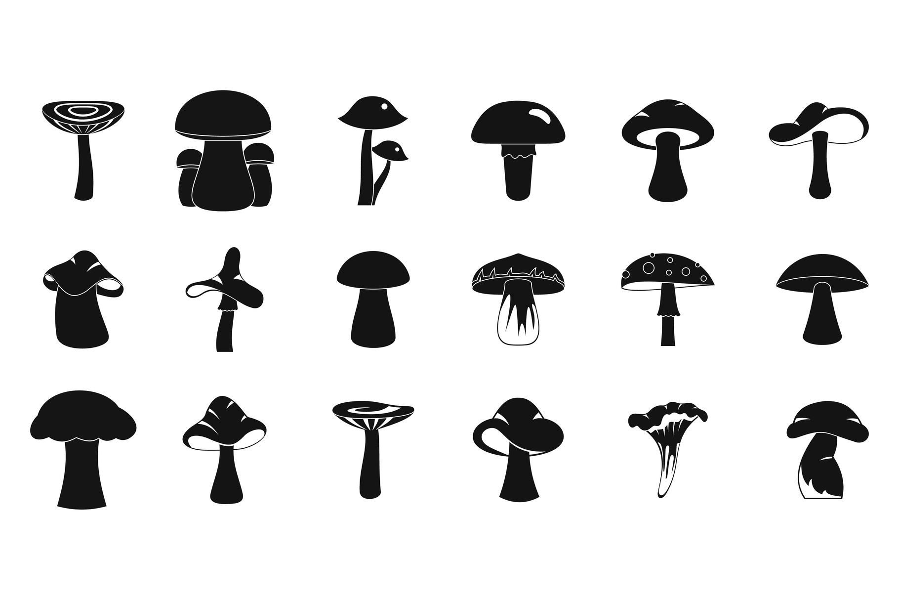Mushroom icon set, simple style example image 1
