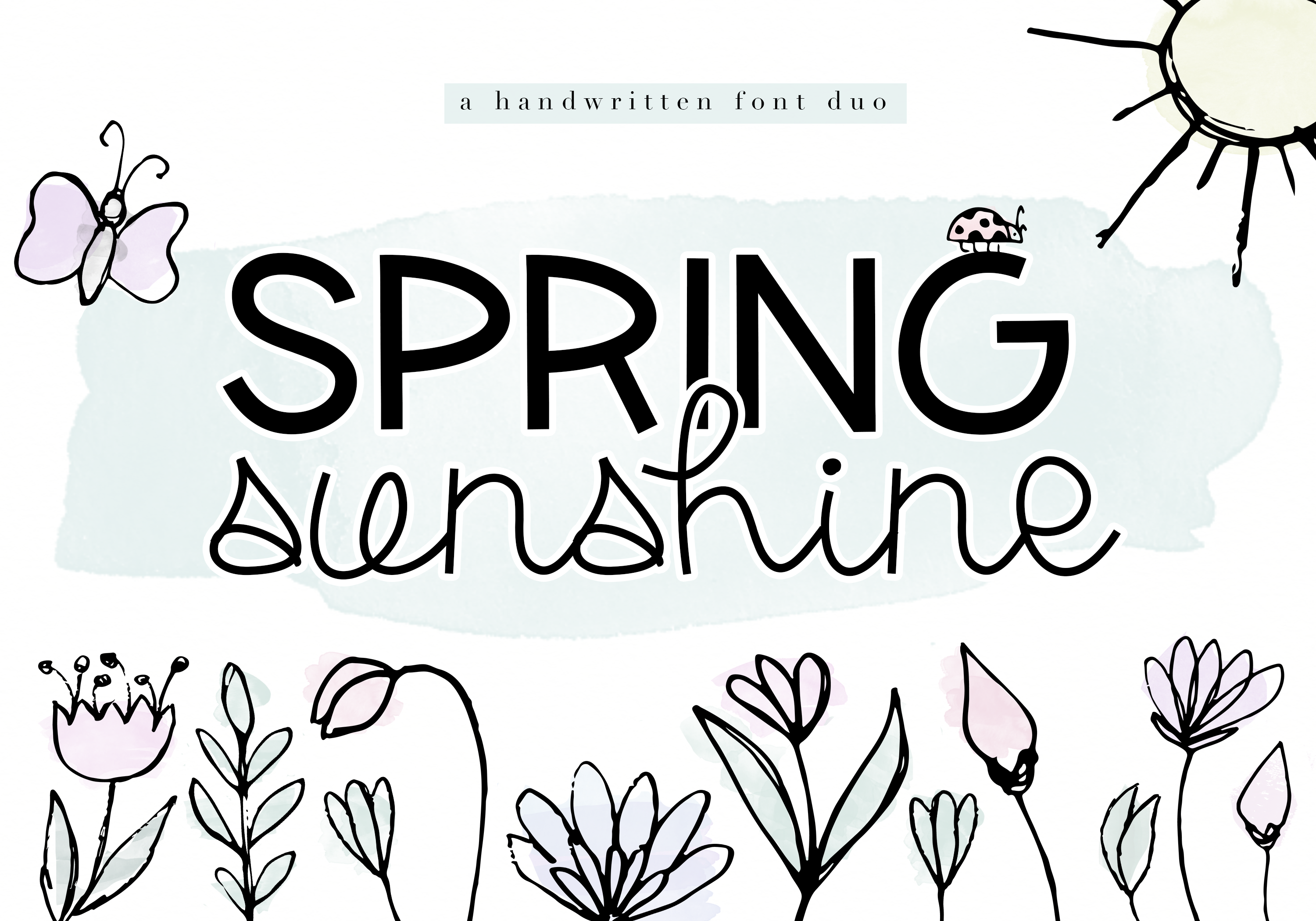 Spring Sunshine - A Serif & Script Font Duo example image 13