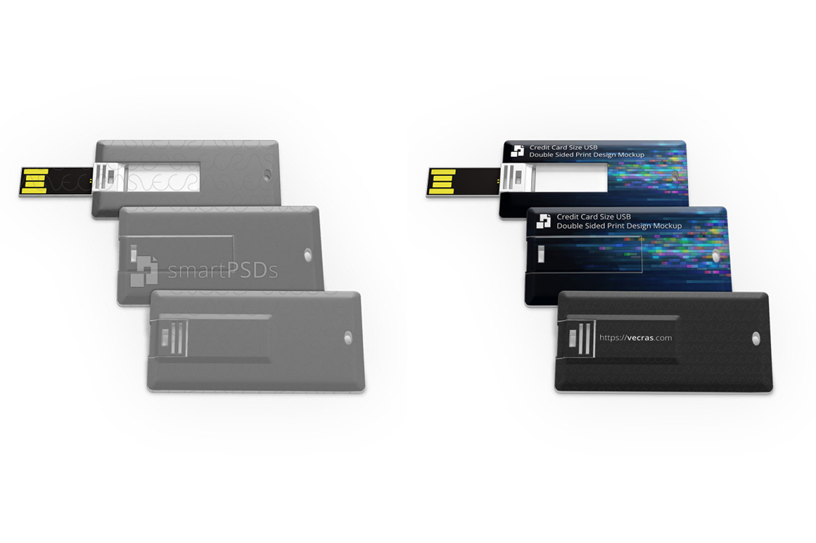 Credit Card Size USB Pendrive Print Design Mockup example image 1