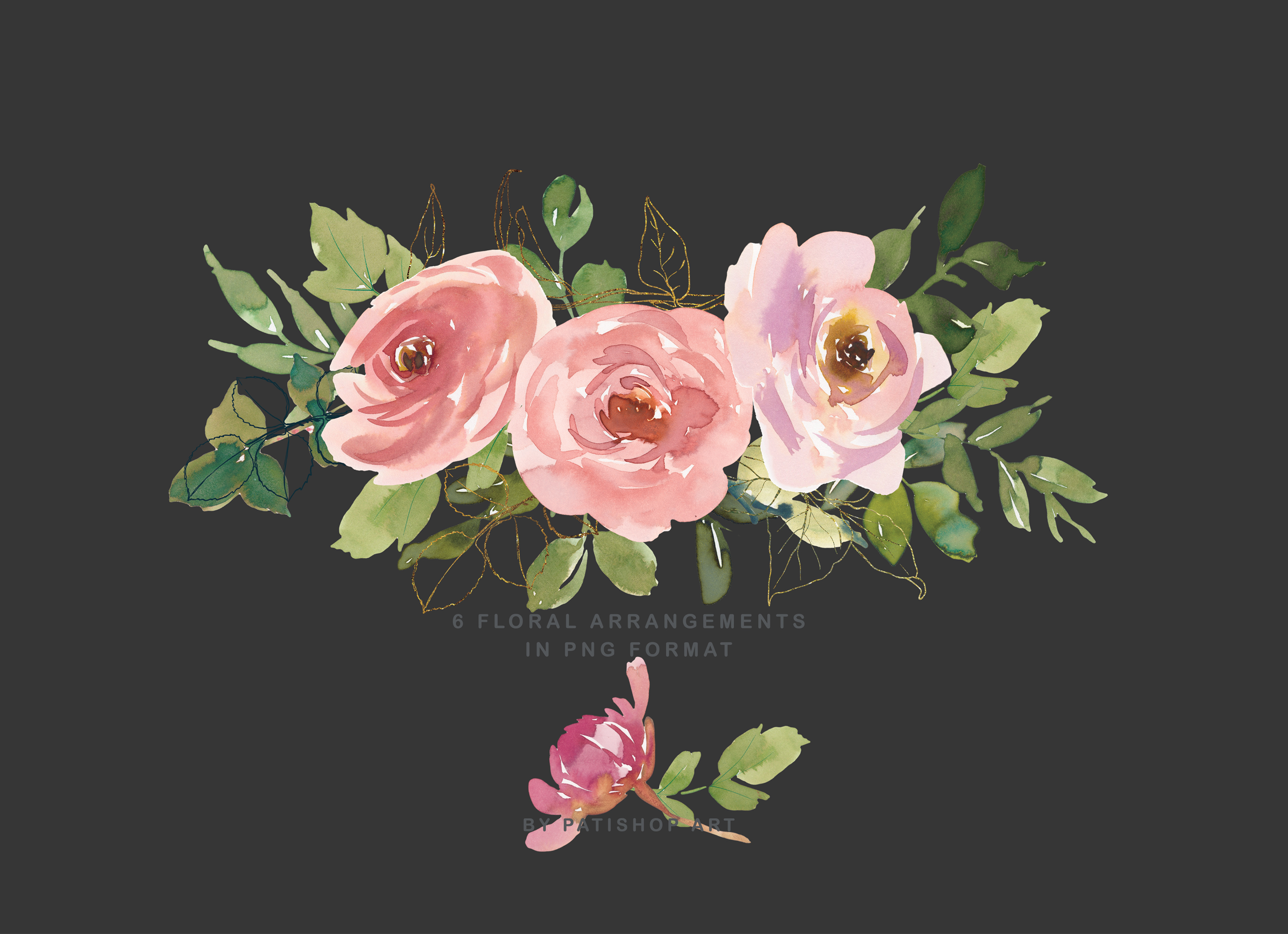 Blush and Peach Watercolor Floral Clipart Collection example image 5