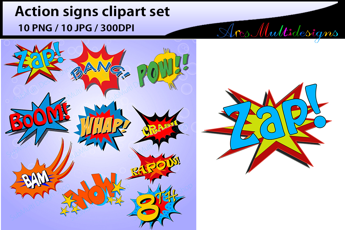action signs / High Quality clipart / action sign silhouette / zap clipart / bang clipart / pow clipart / boom clipart /pop art / comic book example image 1