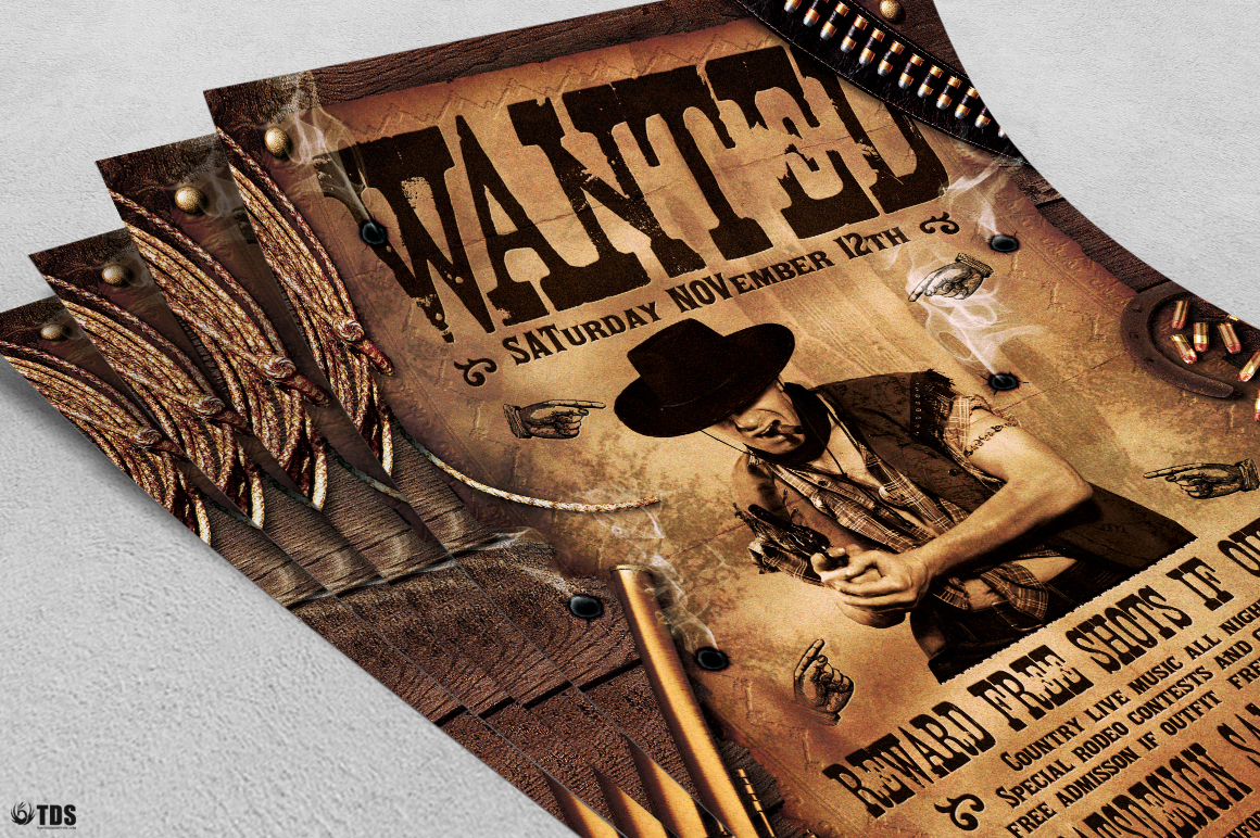 Wanted Western Party Flyer Template example image 4