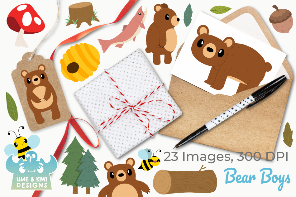 Bear Boys Clipart, Instant Download Vector Art example image 4
