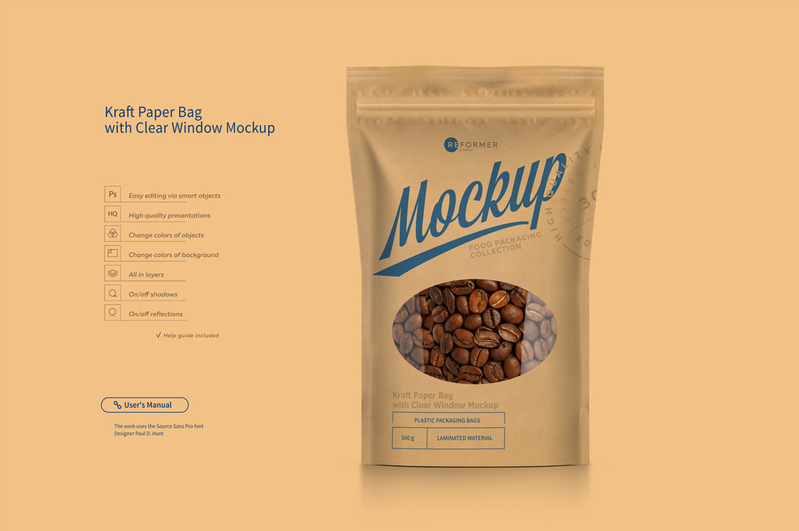 Kraft Paper Bag Stand up Pouch Doypack with Clear Window Mockup example image 2
