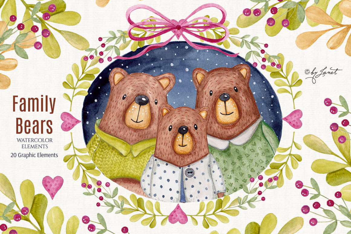 Family Bears illustration example image 1