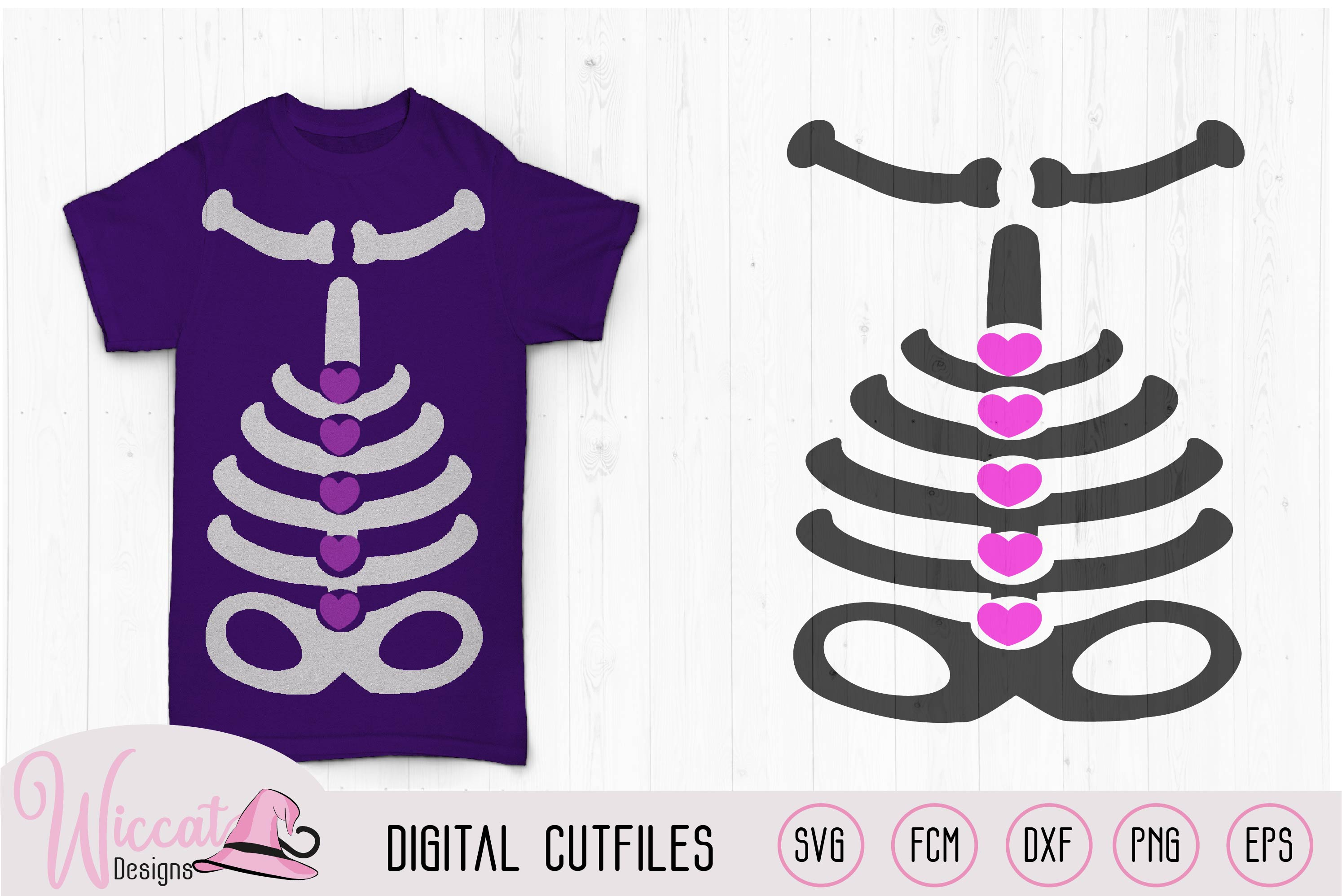 Girl skeleton with hearts, costume for girls svg, example image 2