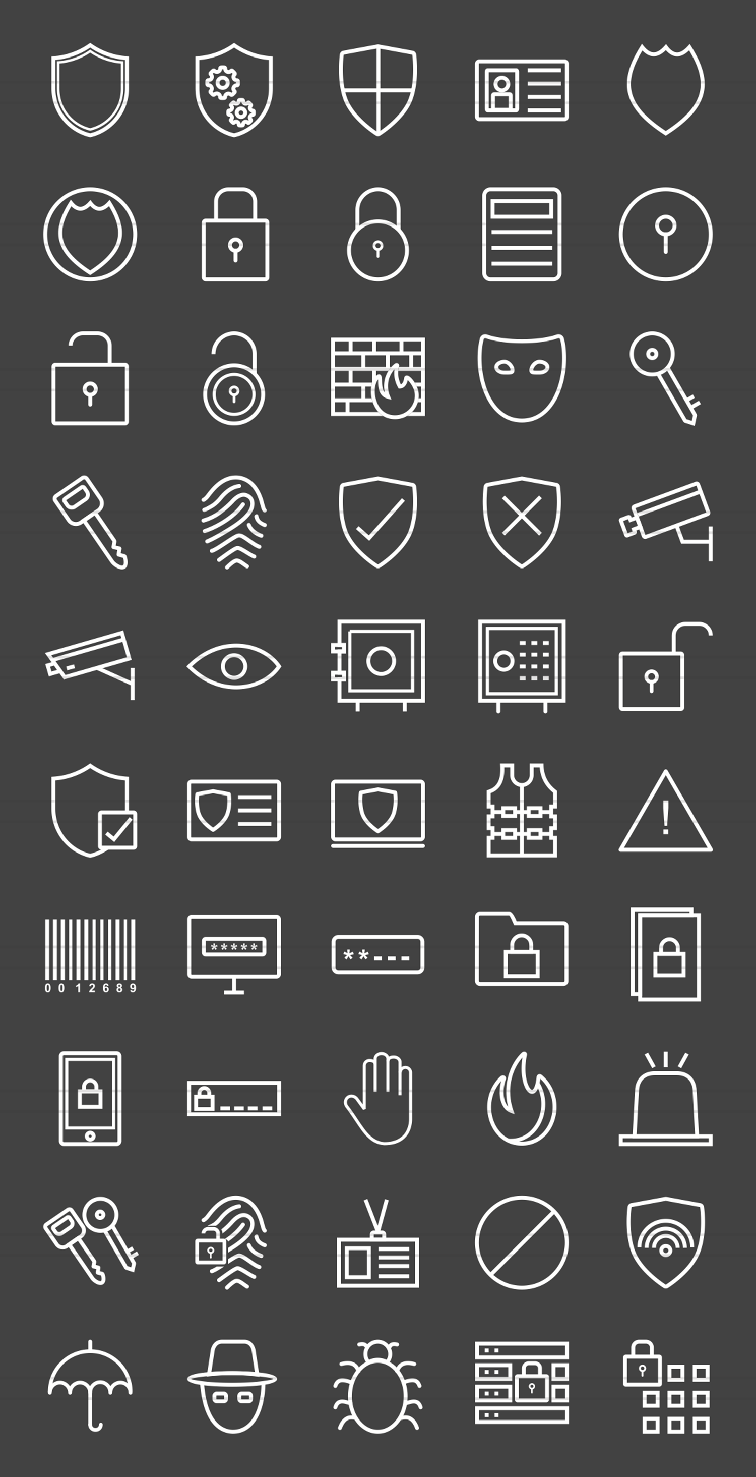 50 Security Line Inverted Icons example image 2