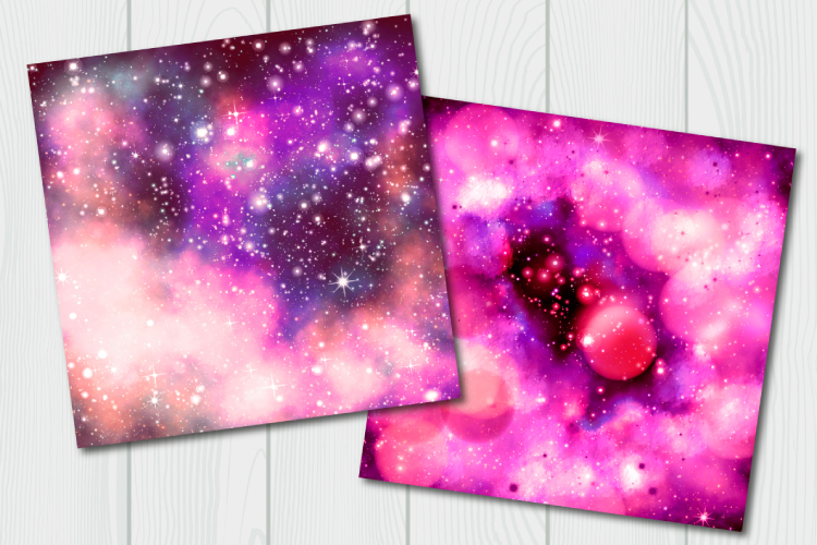 Red galaxy digital paper. Starry sky example image 7