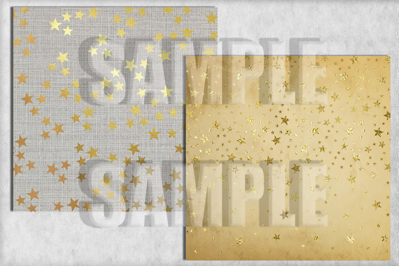 Gold Stars Dream Digital Paper, Digital Background example image 3