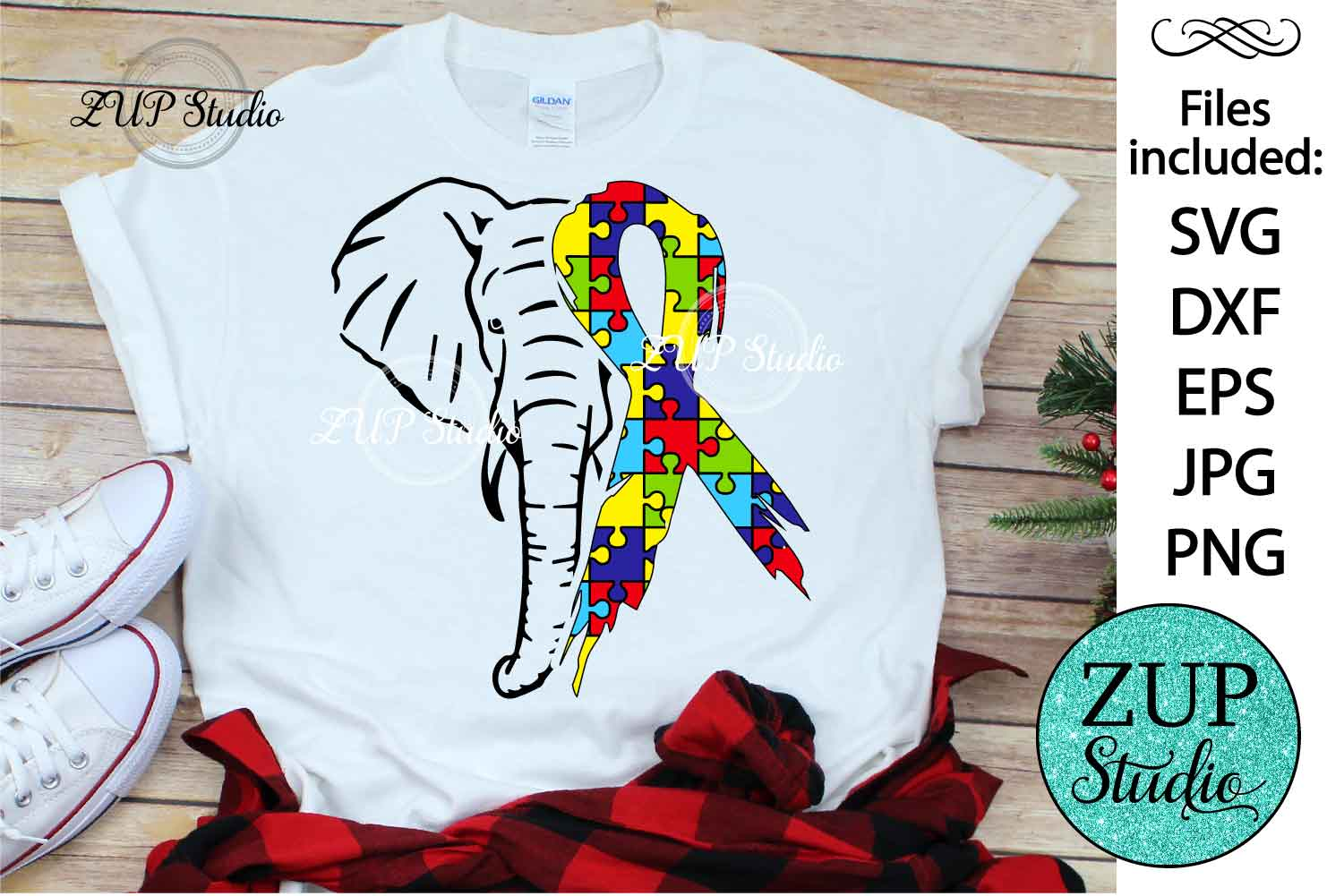 Elephant with Autism Ribbon svg design 466 example image 1
