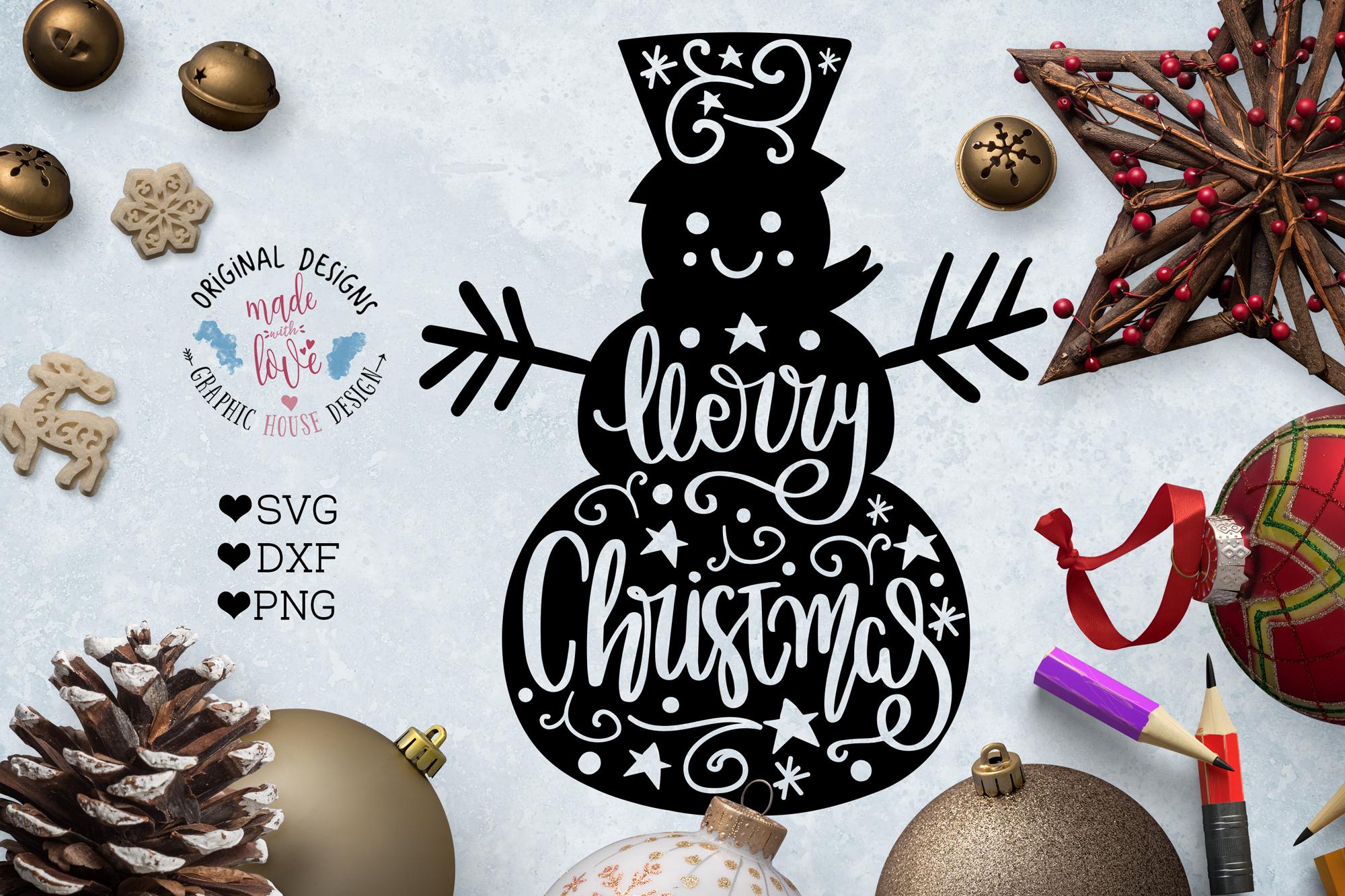 Merry Christmas Snowman - Christmas Cut File example image 1