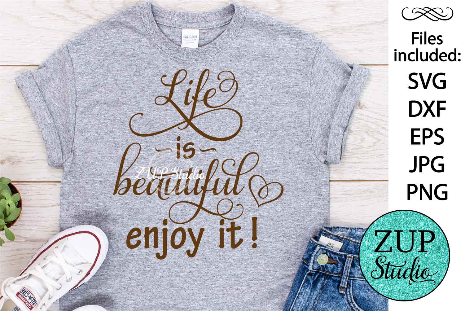 Life is beautiful Digital Cutting files file 65 example image 1