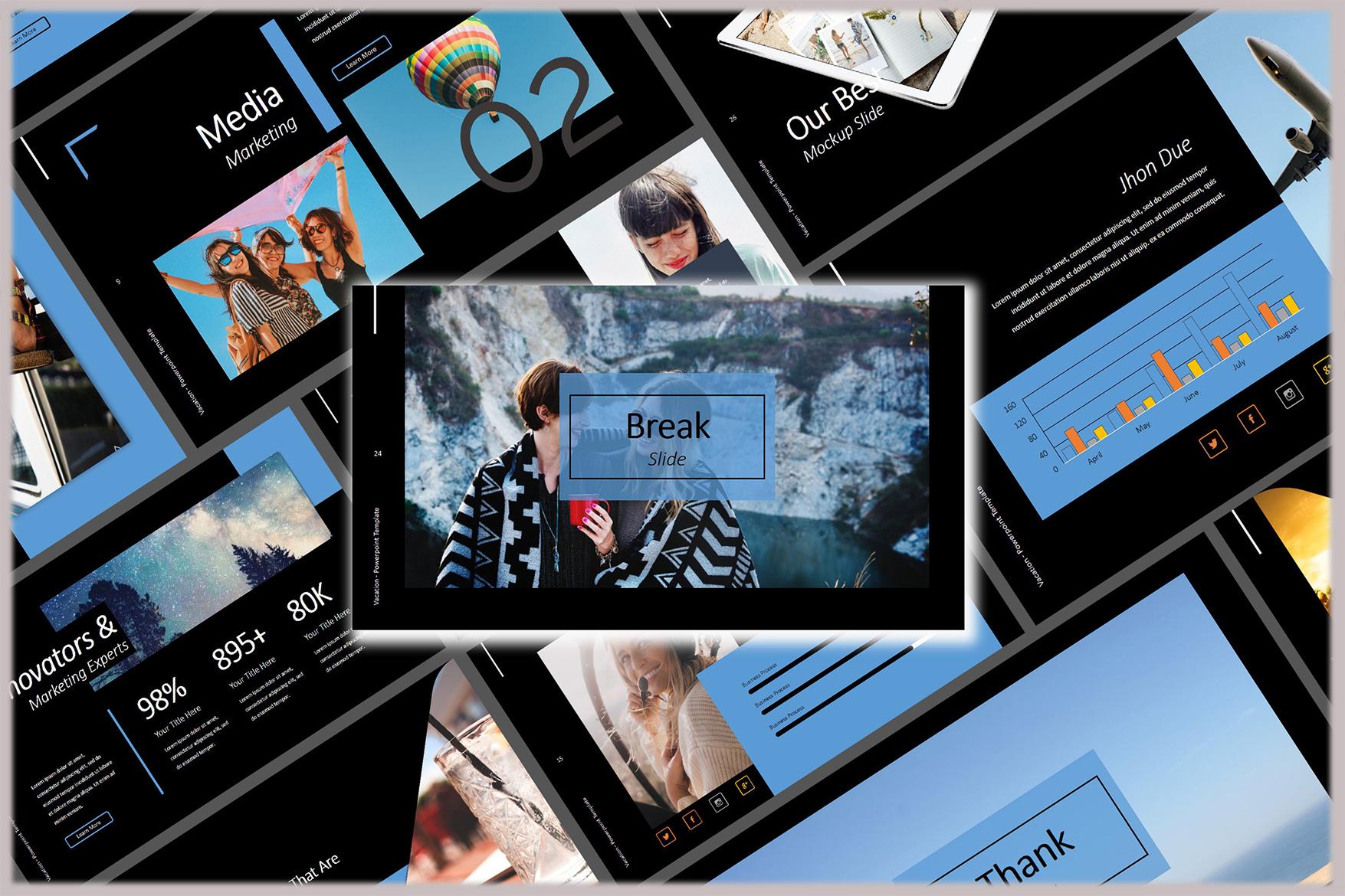 Vacation Lookbook Dark Powerpoint Template example image 6