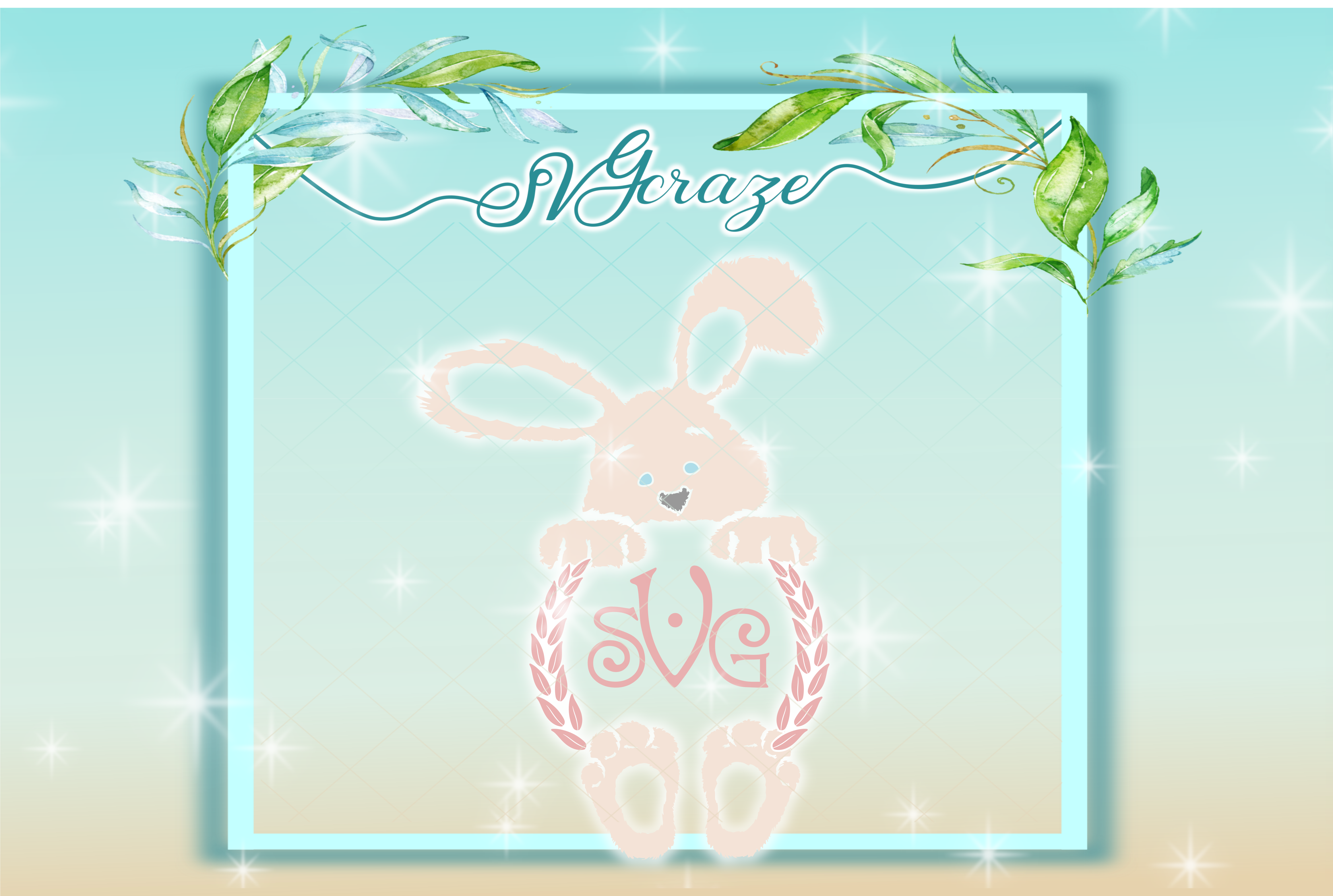 Easter Bunny Svg, Bunny SVG, Monogram SVG example image 1