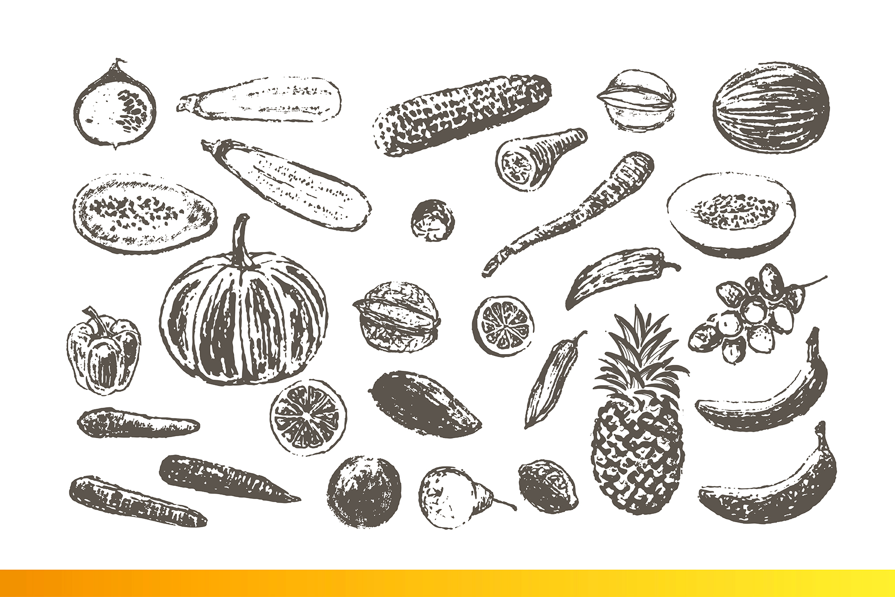 Fruits and Veggies Ink Drawings example image 5