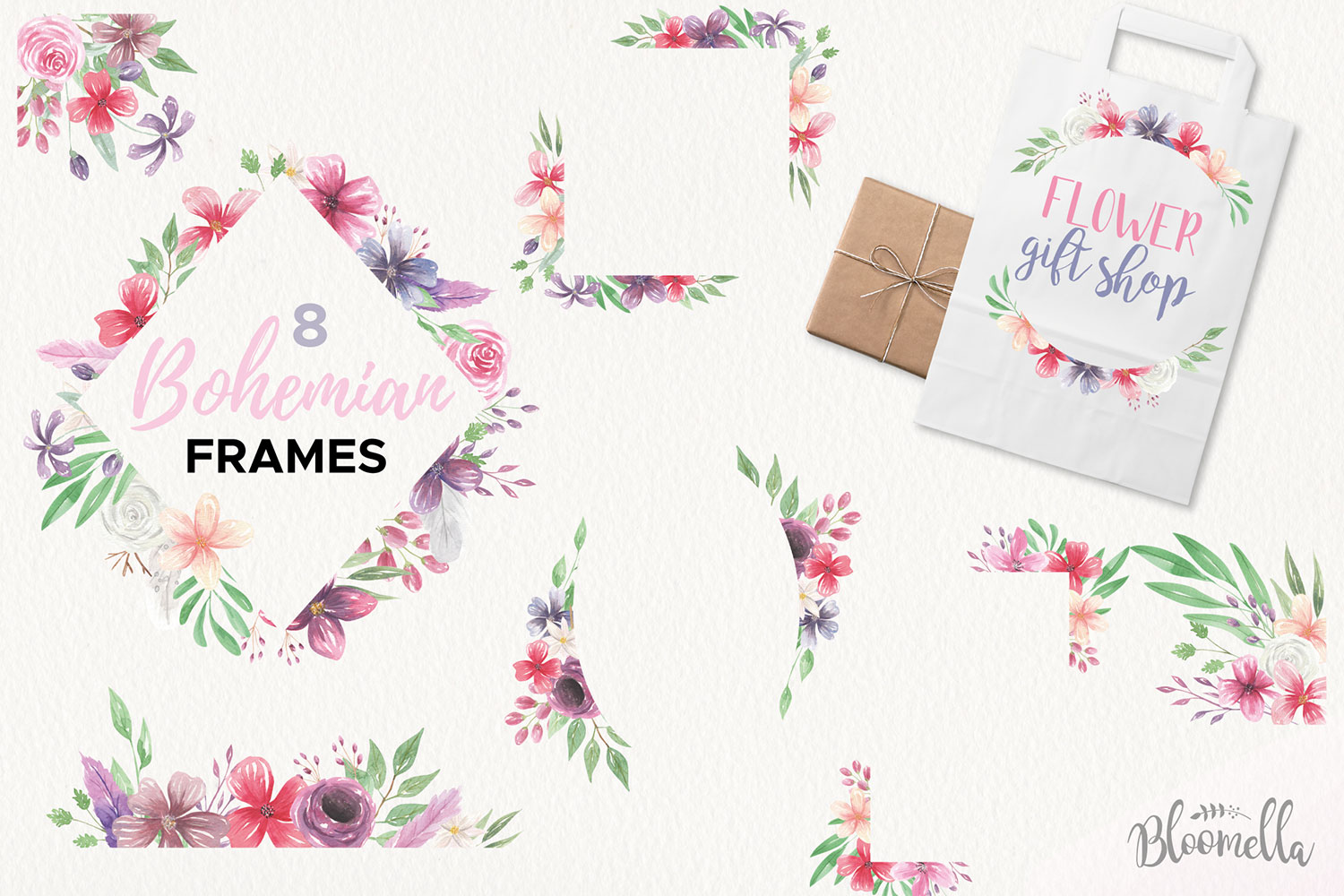 Bohemian Floral Watercolor HUGE Package Wedding Clipart example image 5