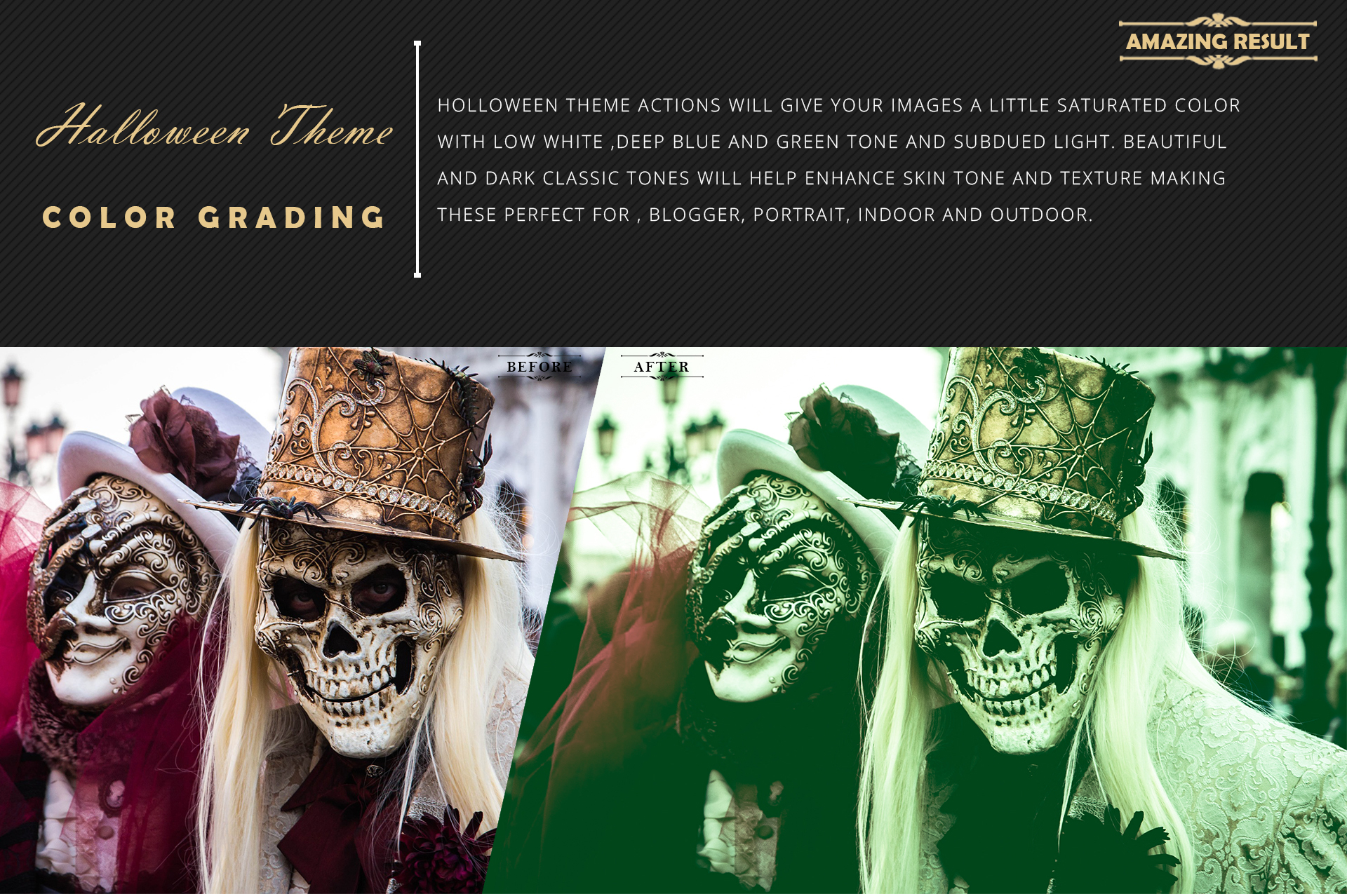 Halloween Theme color grading Photoshop Actions example image 4