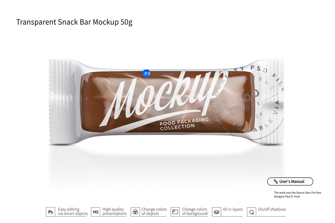 Transparent Chocolate Bar Mockup 50g example image 2