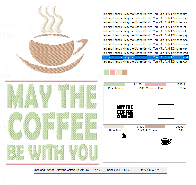 May the Coffee Be With You Machine Embroidery Design example image 2