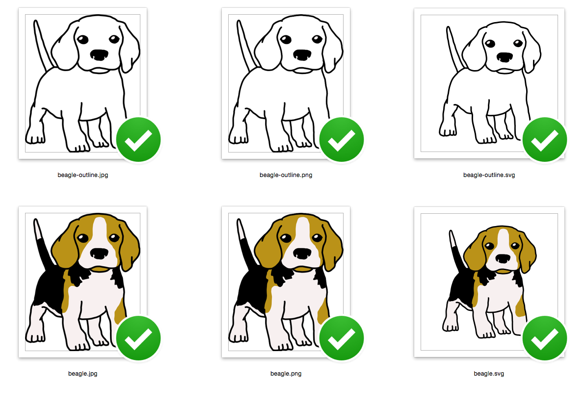 Cute Beagle Puppy Ready to play - Both outline and Color version - SVG/JPG/PNG Hand Drawing example image 2