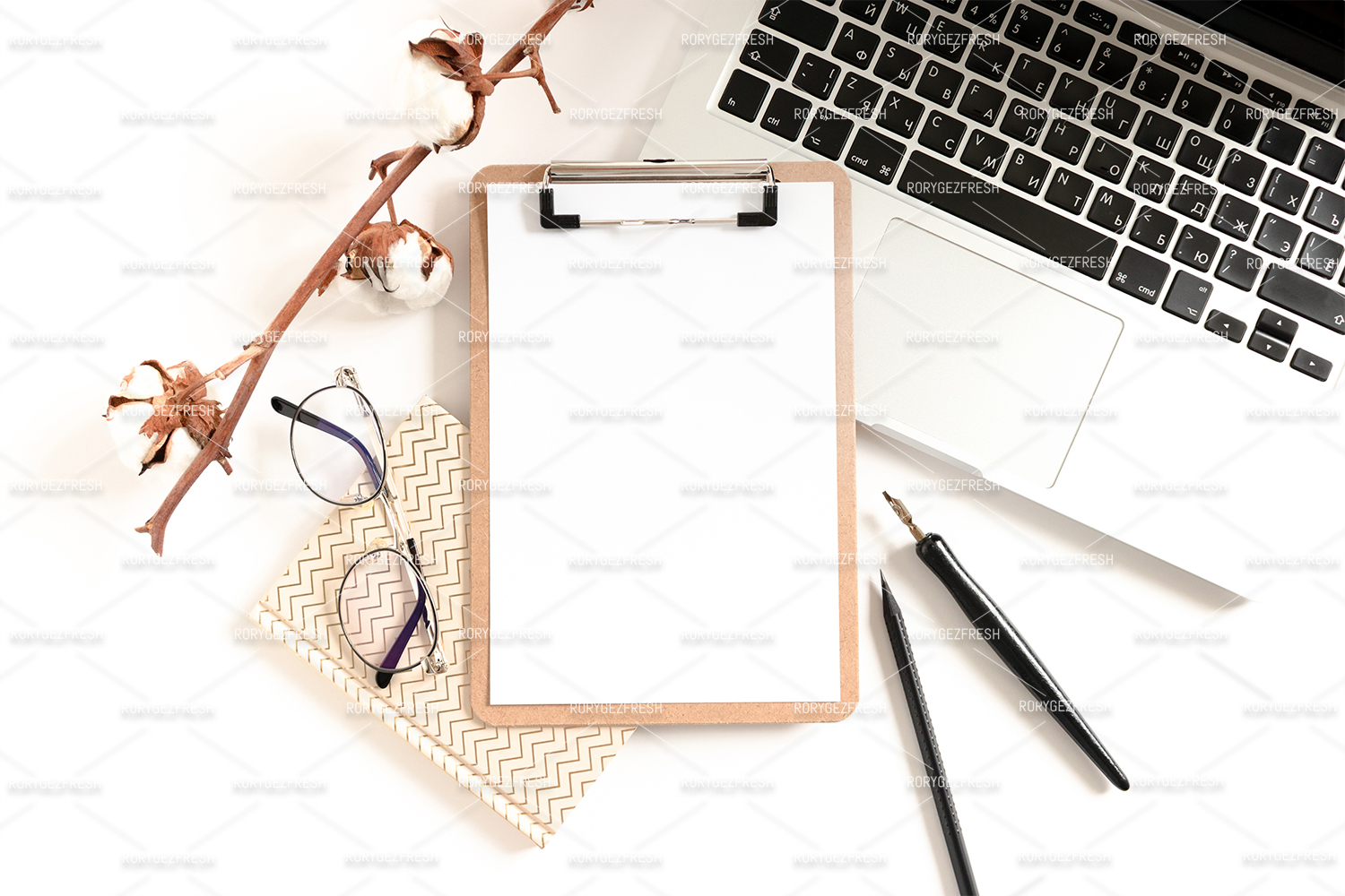 Workspace with clipboard mockup, laptop, glasses, notepads example image 1