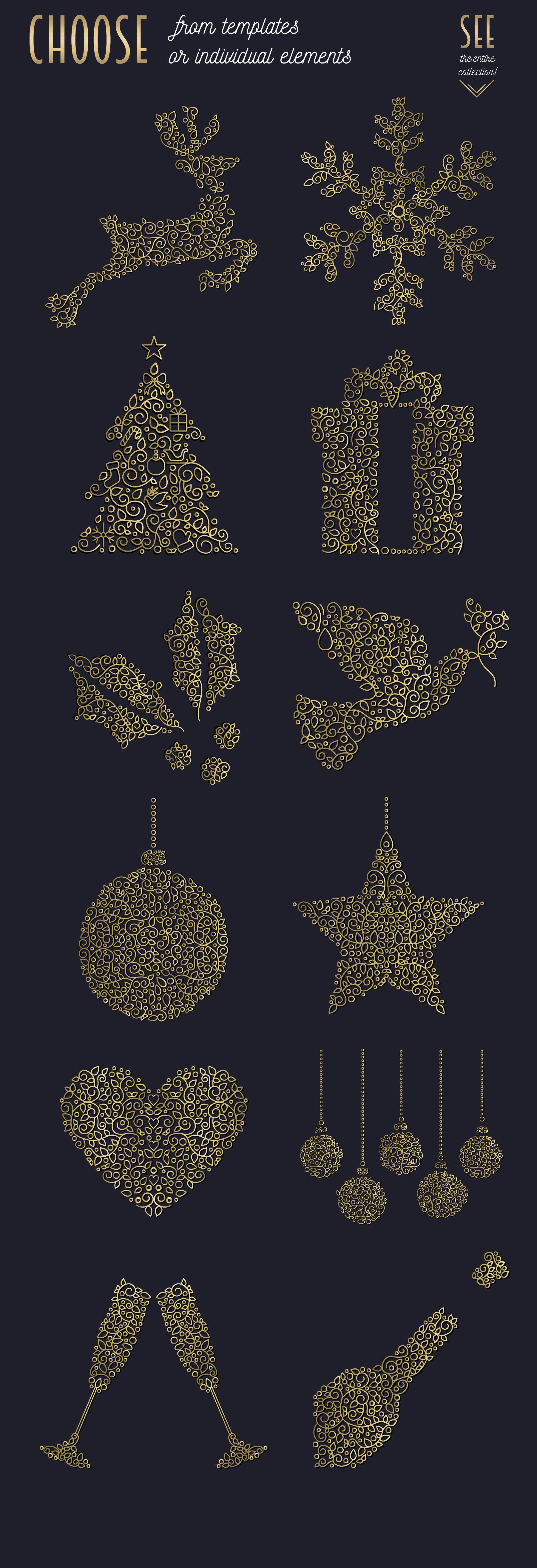 Christmas Gold Line Art Set example image 4