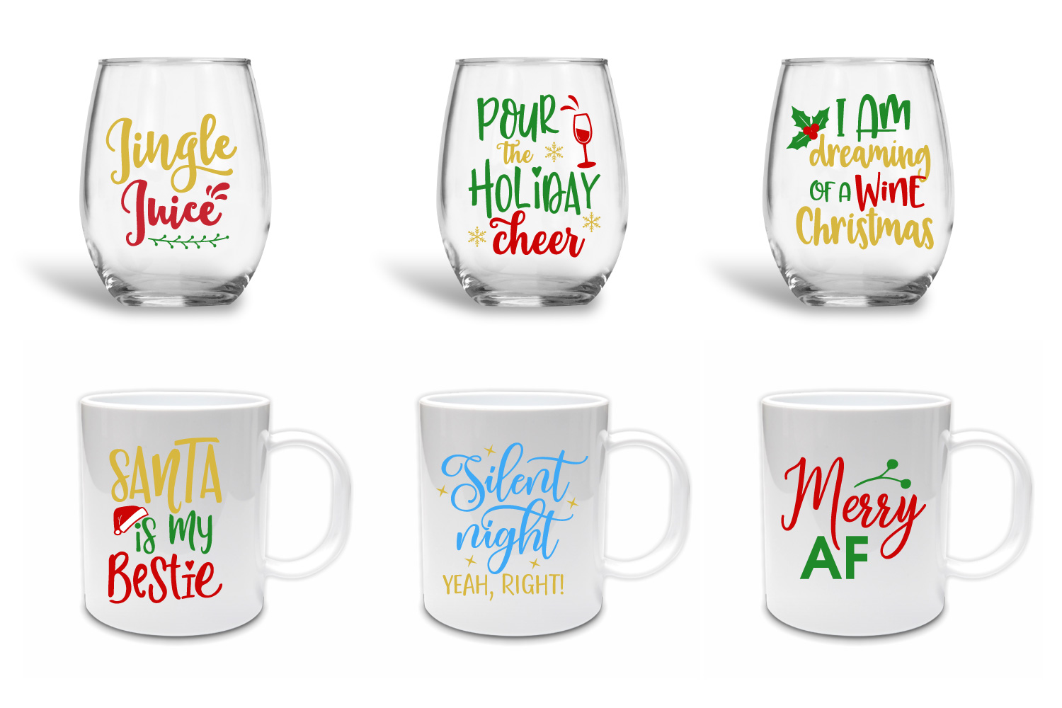 Funny Christmas Quotes Bundle - SVG, EPS, DXF, PNG example image 2