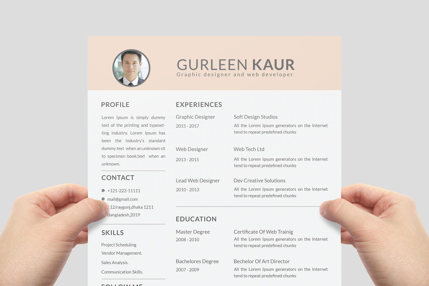 Professional Cv Resume Bonus business card Word/PSD,AI example image 2