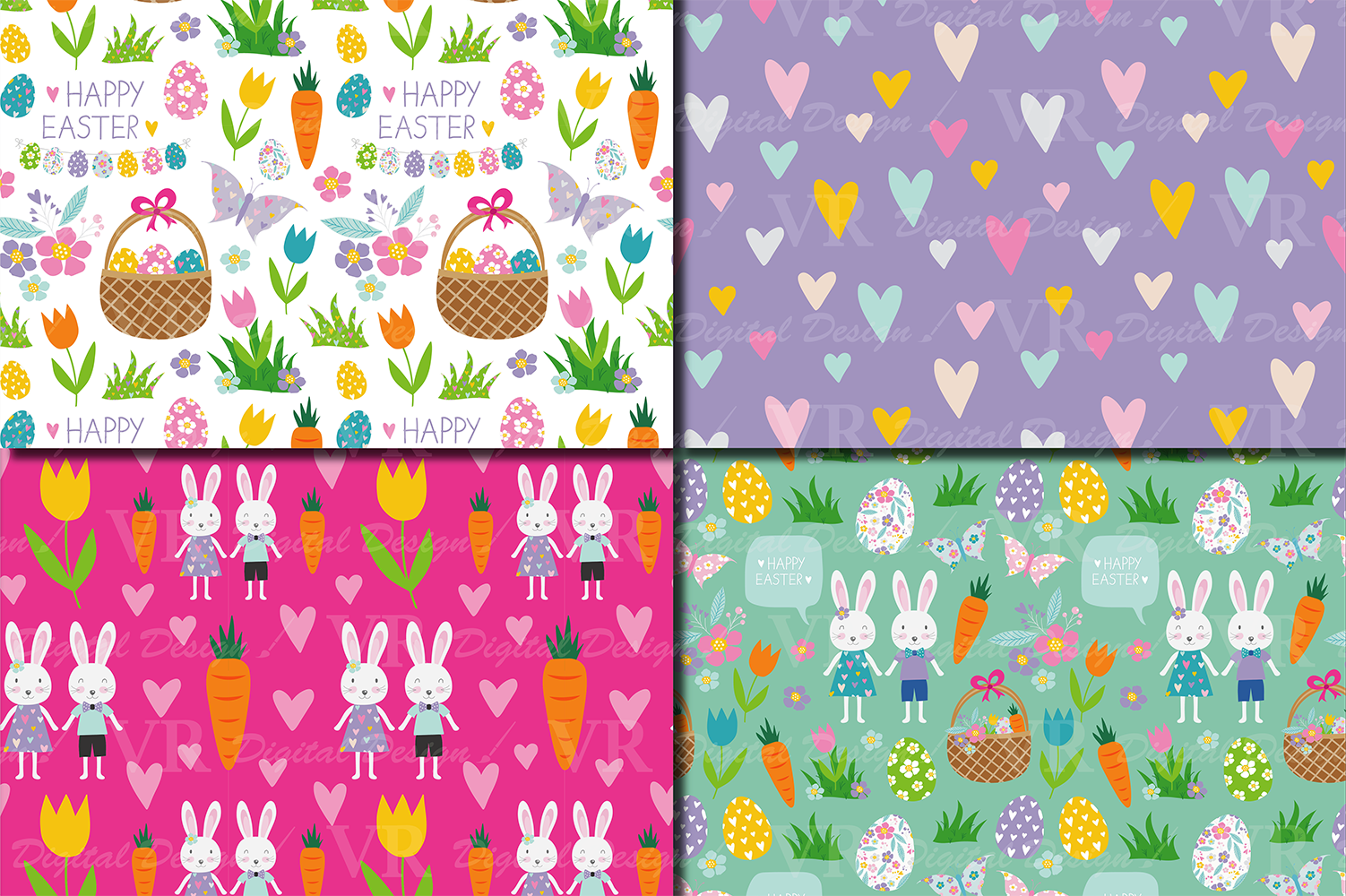 Easter Bunny Digital Paper / Bright Easter Seamless Patterns with bunnies, flowers and Easter eggs / Scrapbooking paper example image 2