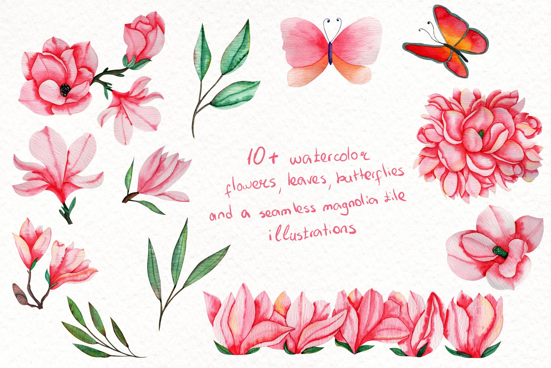 Magnolia Dream - Watercolor Illustrations example image 3