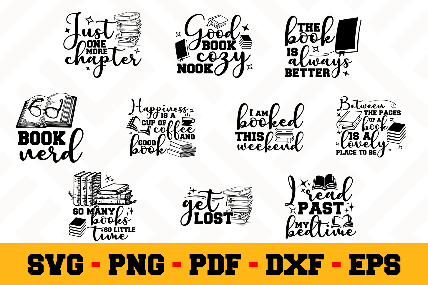 Book Lover 10 Designs Pack | Reading SVG Bundle example image 1