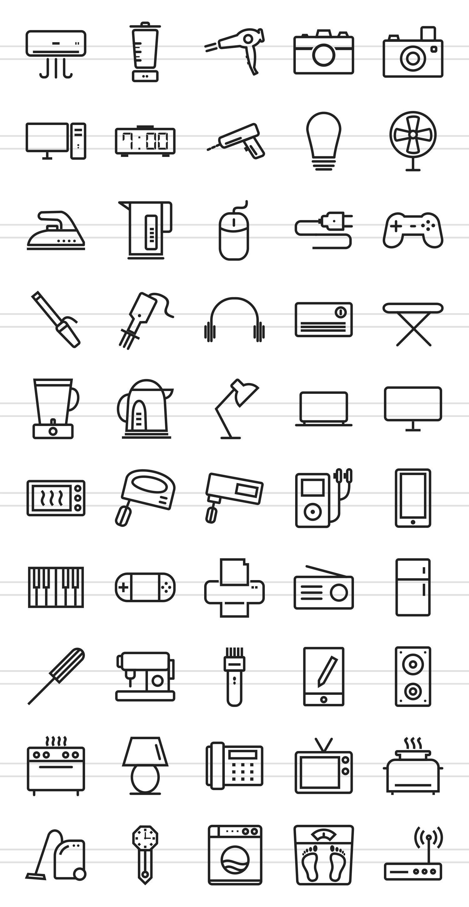 50 Home Electronics Line Icons example image 2