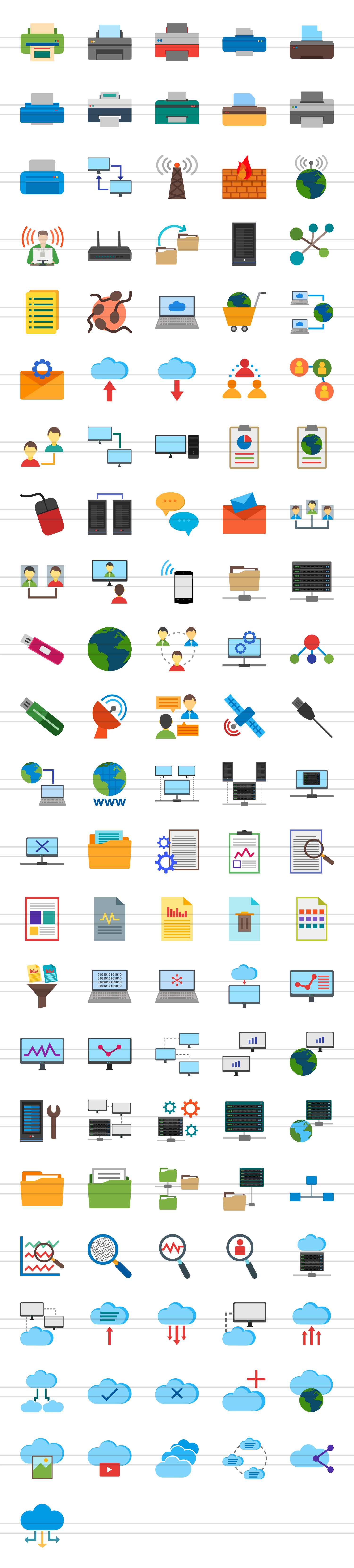 111 Networking & Printers Flat Icons example image 2