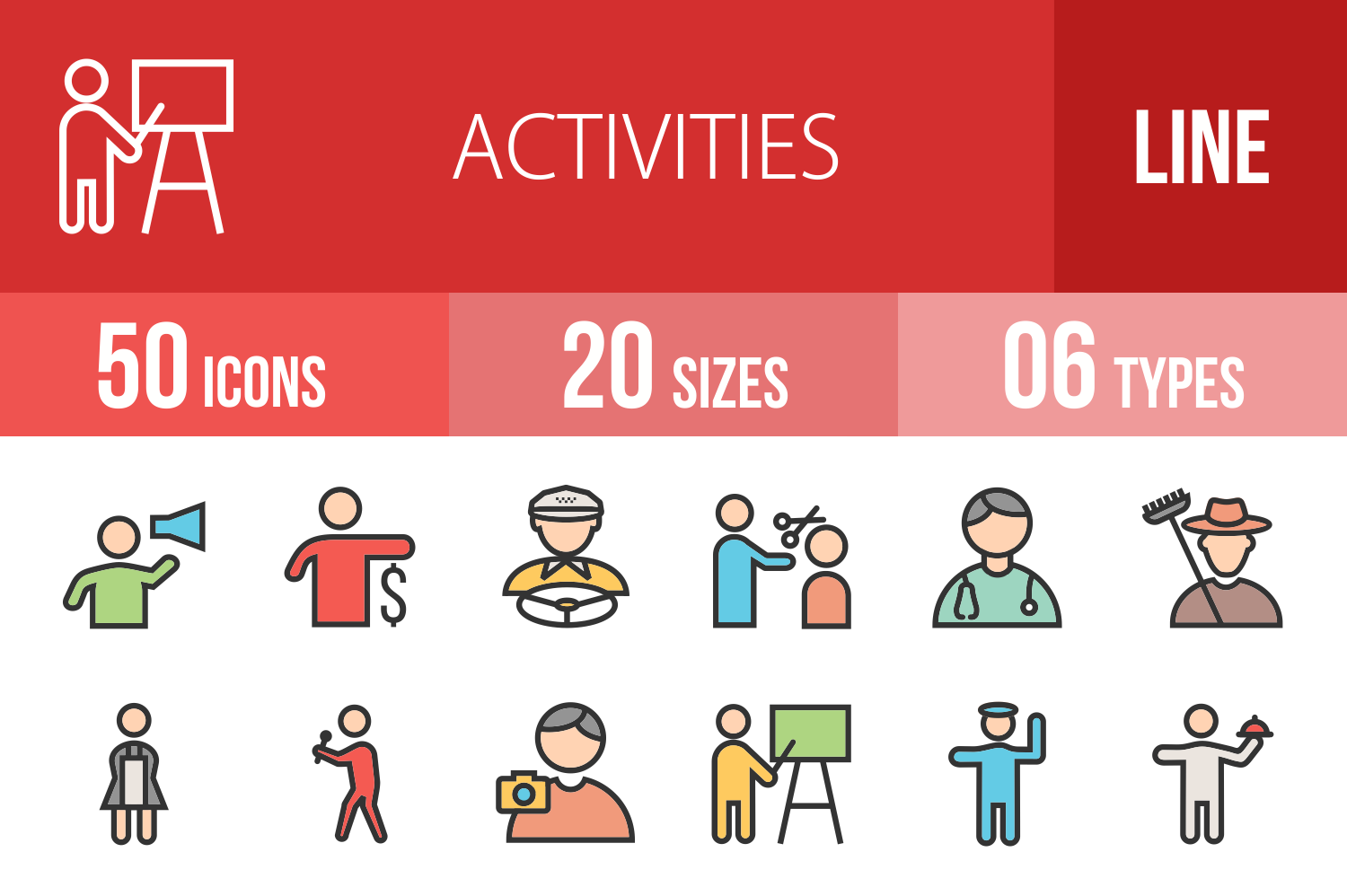 50 Activities Linear Multicolor Icons example image 1