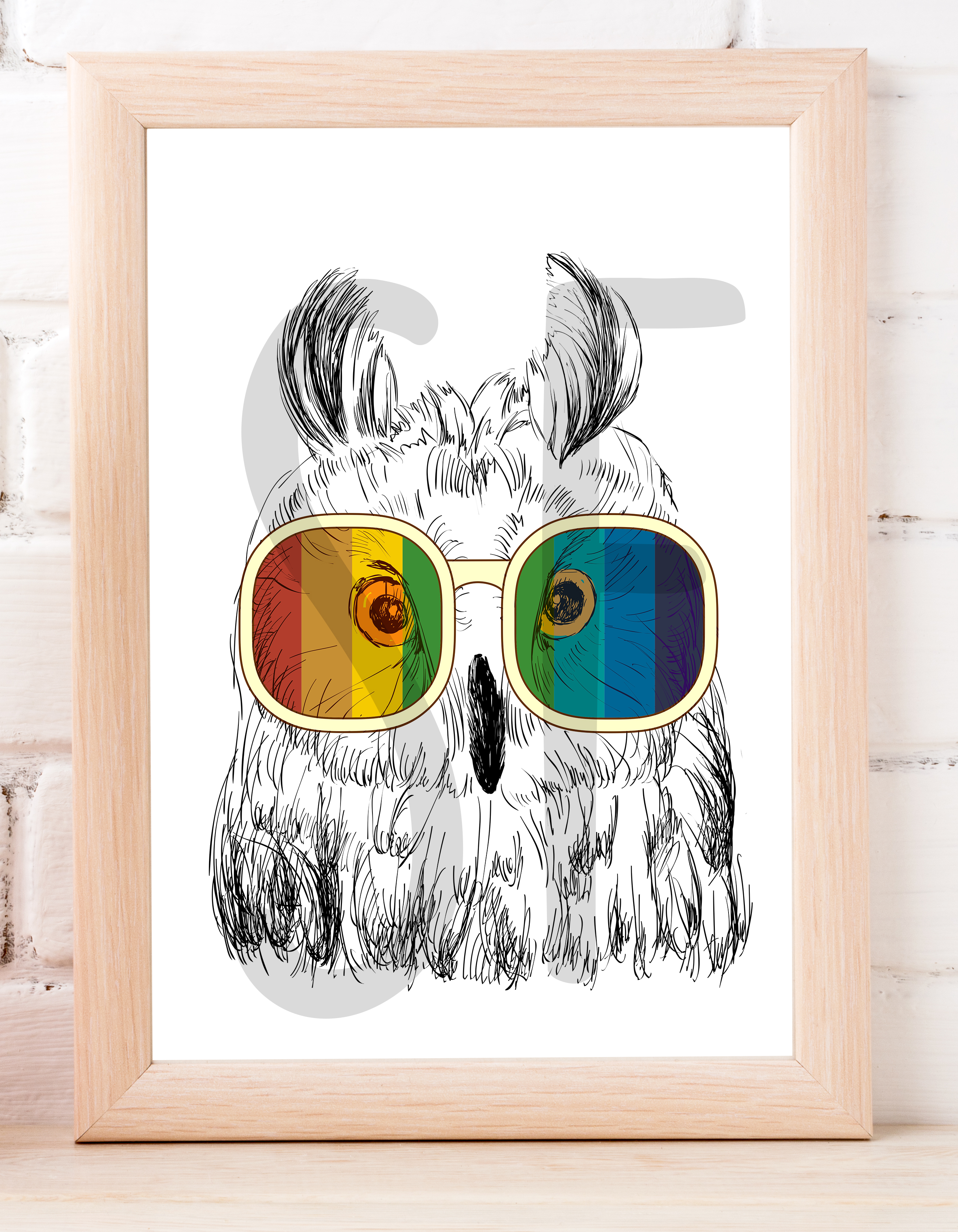 Fashion Owl Wall Art Printable - Instant Digital Download example image 2